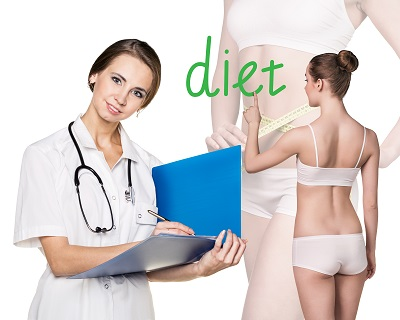 Doctor consults young woman about diet on the white background